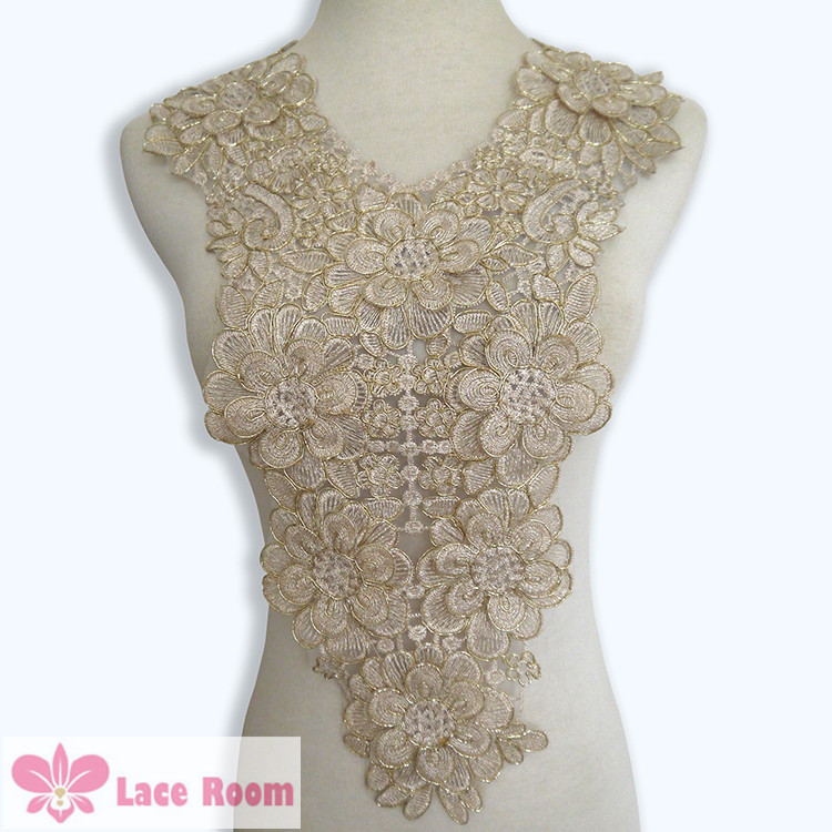 Gold Polyester Embroidered Venise Lace Collar Lace Trim Clothing