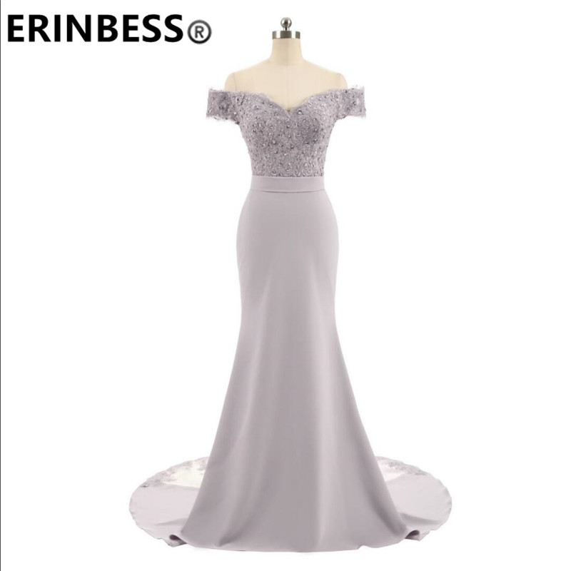 ERINBESS Robe De Soiree Mermaid Navy Blue Long Prom Dresses Party Elegant Vestido De Festa Long