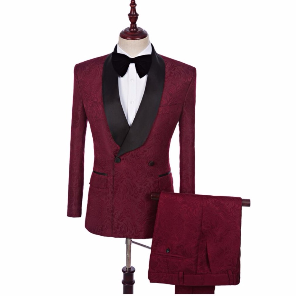 S-5xl 2020 New Men Suits Groom Wedding Shawl Collar Suits Dress Wine Red Jacquard Fabric Formal Dress Stage Singer Costumes