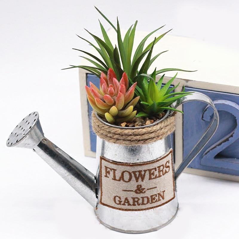 WCIC Metal Iron Retro Pastoral Flower Watering Pot Flower Barrel Succulent Plant Flowerpots for Home Garden Balcony Decor