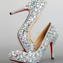2016 Beautiful Silver High-heeled Lady Bridal Wedding Dress Shoes Woman Crystal Shoes for Bride Evening Party Prom Shoes