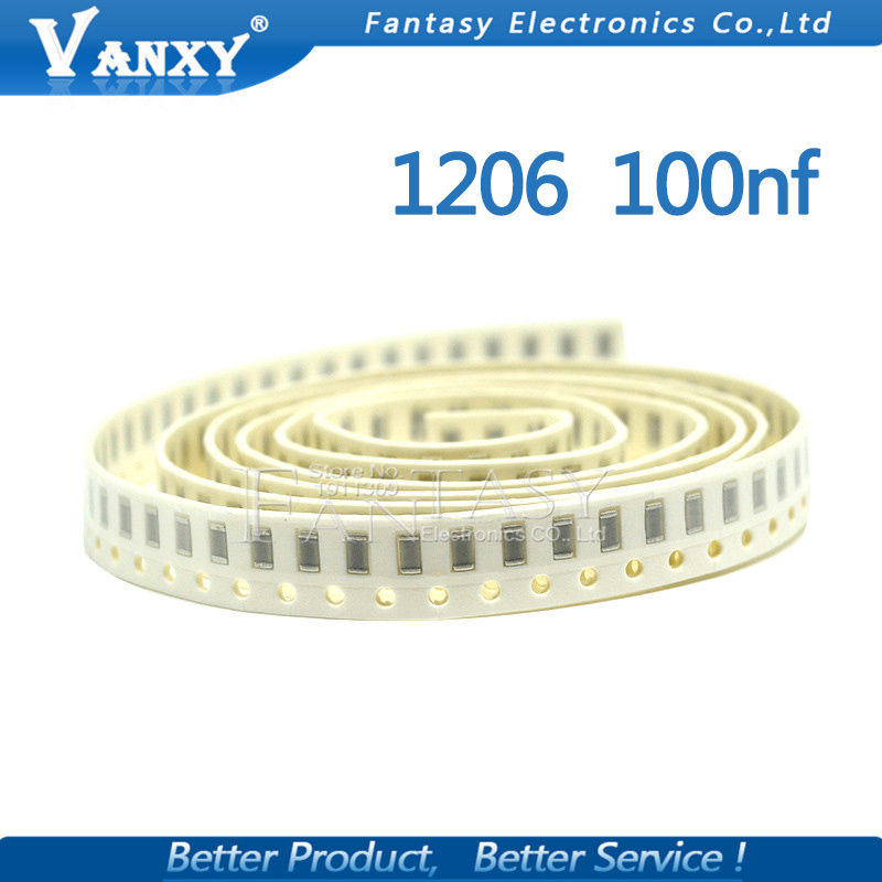 100pcs 100NF X7R Error <font><b>10</b></font>% <font><b>50V</b></font> 0.1UF 104 1206 smd capacitor image