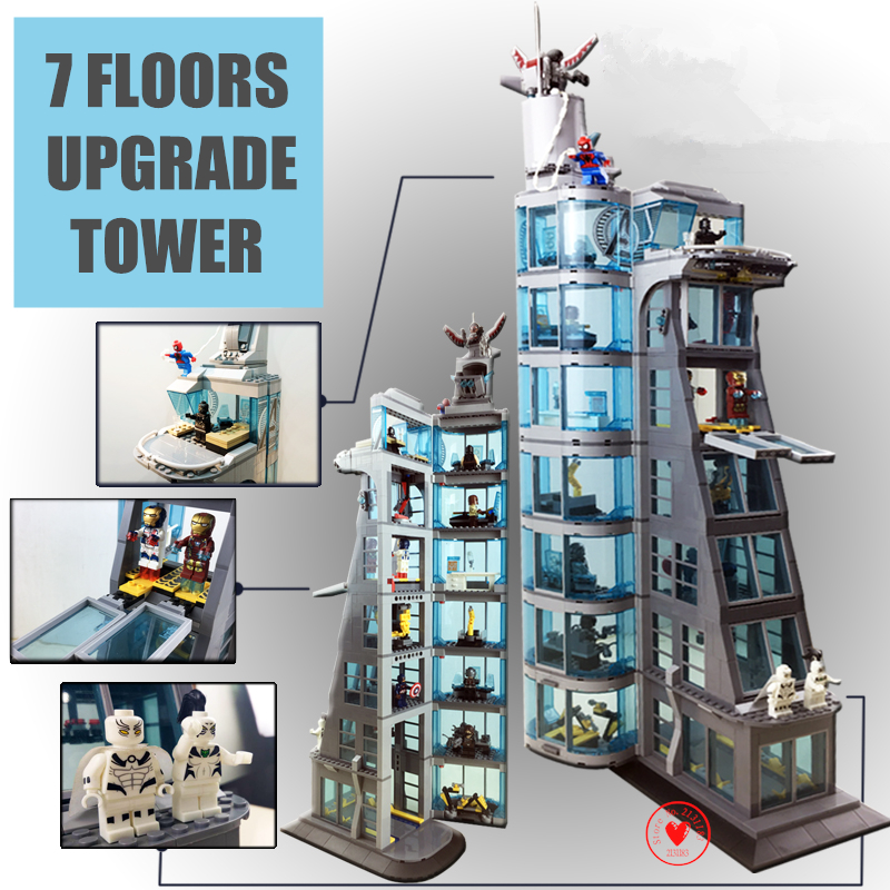Upgraded Avengers Tower fit legoings infinity wars figures Super Heroes spider ironman marvel Building Block Bricks