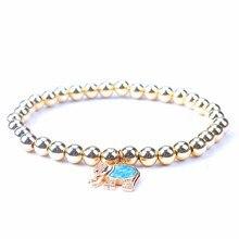 Cute Opal CZ Elephant Charms Bracelets for Women Gold Silver Black Elastic 6mm Copper Bead Bracelet Female Animal Jewelry