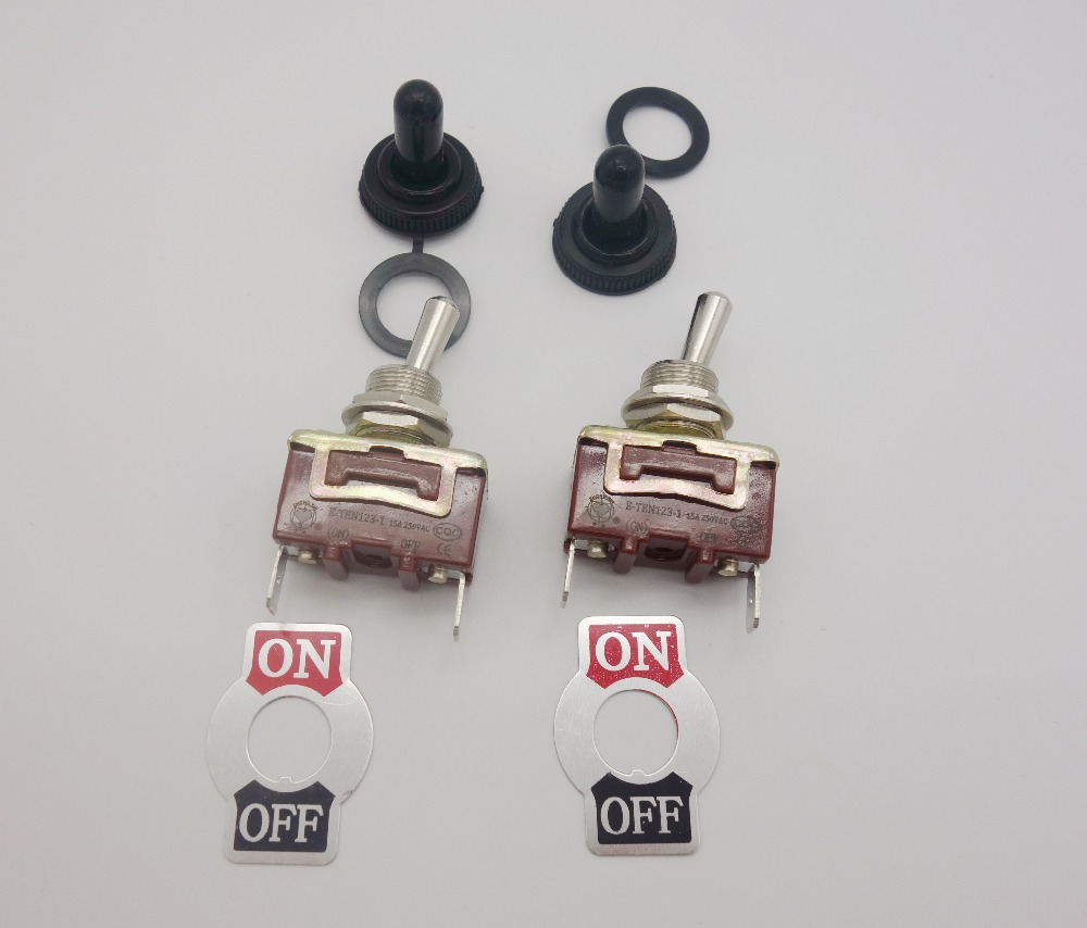 LOT OF 2PCS 2 PIN ON-OFF Toggle Switch 15A 250V Plug in Termianls Maintained water proof