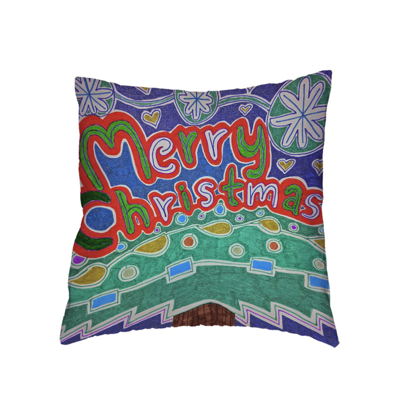 Creative Art Graffiti Christmas Cushion Cover Letter Tree Home Bedroom Sofa Decor Dorm Gift Polyester Peach Skin Pillow Cases in Cushion Cover from Home Garden