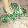 Бесплатная доставка горный хрусталь Кристалл девочка Ребенок обувь ручной работы Bling Bling дети Впервые бисера мягкая обувь соску клип сеть