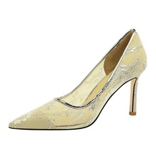 Sexy  Summer Nightclubs Slim Hollow Mesh Lace High Heels Shallow Mouth Pointed Pumps Shoes Female G0013