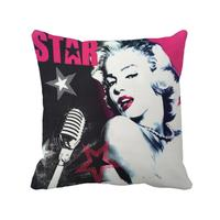 Beautiful Star Girl Sing Song Printed Customize Black Cushion Cover Euro Throw Pillow Case For Home