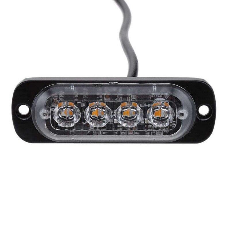 4 Led Strobe Warning Light Strobe Grille Flashing Lightbar Truck Car Beacon Lamp Amber Blue Red Traffic Light