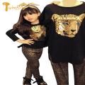 TWINSBELLA Children Leopard Clothing Set 2017 Baby Girls Spring Suits T-shirts +Pants Kids 2PCS Cartoon Clothes Sets For Girls