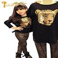TWINSBELLA Niños Sistema de la Ropa 2017 de los Bebés de Leopardo Trajes de Primavera Camisetas + Pantalones de Los Cabritos 2 UNIDS Ropa de la Historieta Establece Para niñas