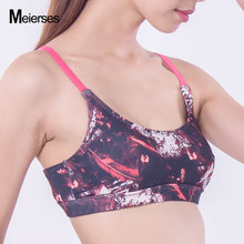 MEIERSES Colorful Feathers Printed Sport Bras For Women Crop Top Fitness Lady Quick Dry High Elasticity Workout Fitness Wear(China)