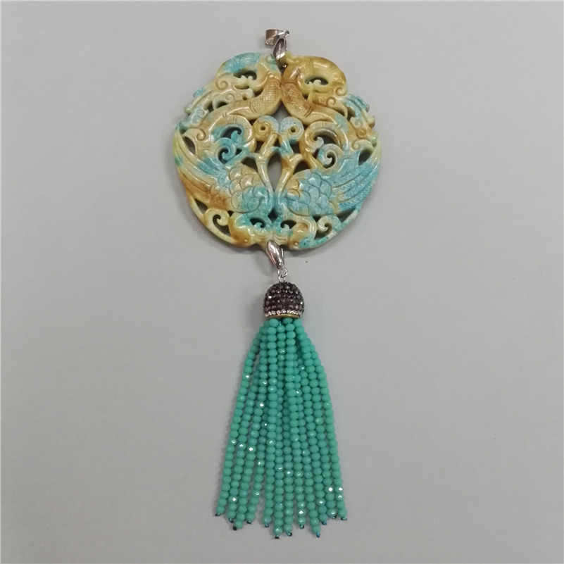 charms Classic Traditional Chinese Ancient vintage Pattern yellow stone mint green beaded tassel hematite chain Pendant necklace