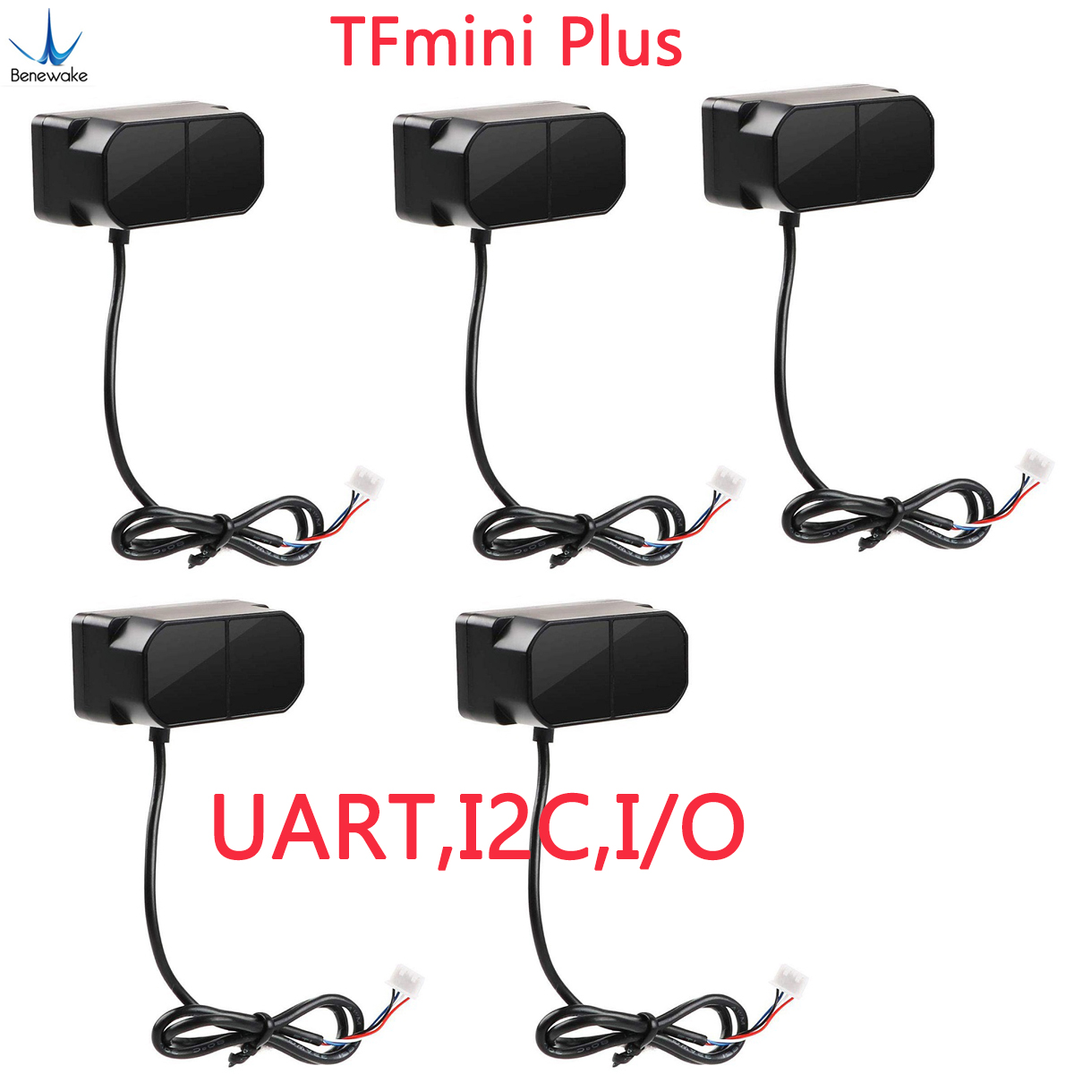 5pcs TFmini Plus Lidar Range Finder Sensor, IP65 Waterproof Dustproof Single-point Micro Ranging Module UART,I2C,I/O