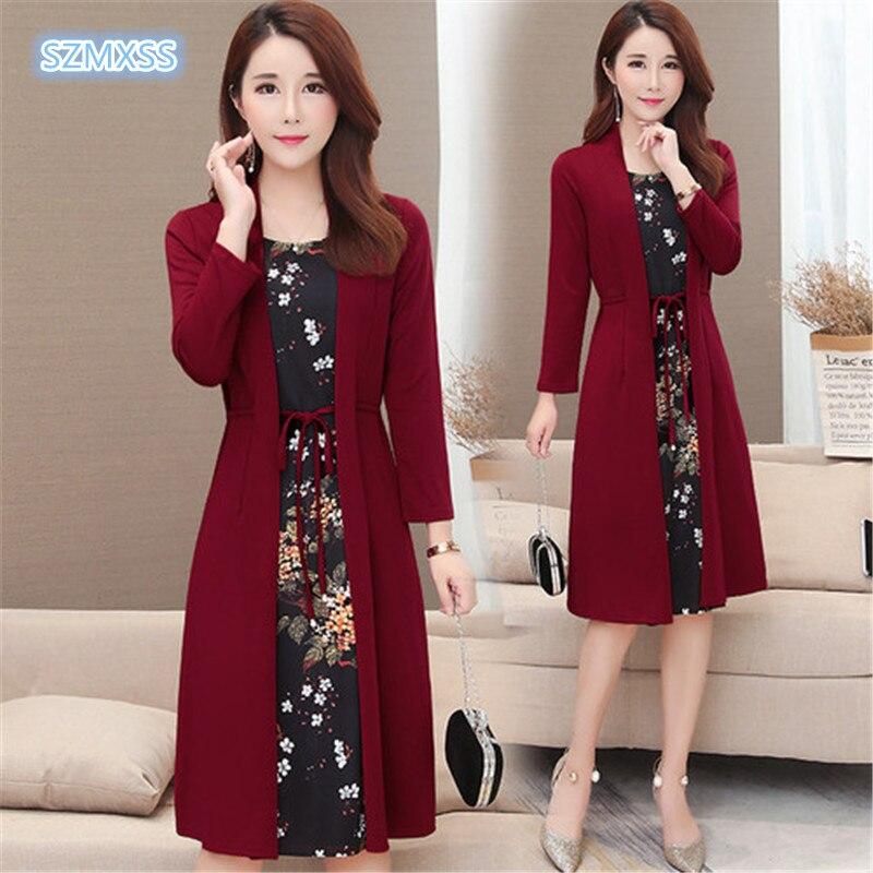 Women Casual Knee-length Dress Plus Size Arrival Short Sleeve Printing Autumn Dress For Offical Lady Women Loose Elegant Dress