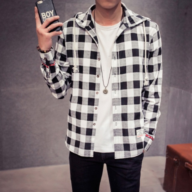 986fc58d6f145 2016 New Brand Spring Fashion Hooded Plaid Men Shirts Long Sleeve High  Quality Cotton Linen Plus