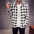 2016 Nueva Primavera de la Marca Con Capucha de la Moda Hombres Camisas A Cuadros de Manga Larga Camisa de Lino de Algodón de Alta Calidad Más El Tamaño M-5XL
