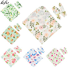 2Pcs/set Baby Kids Wrapped Cloth Rabbit Ears Hair Band Set Printed Flowers Newborn Quilt Blanket Photography Props Jewelry Gifts