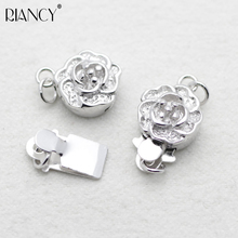 1 pieces 925 sterling silver Plum blossom buckle Necklace DIY Jewelry accessories Bracelets pearl button insert