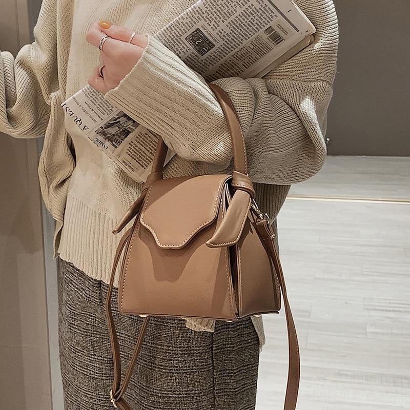 Solid Bucket Style Women Fashion Shoulder Bags Ladies Korean Style Ins Hot Handbag Ladies Pink Adjustable Straps Crossbody B251
