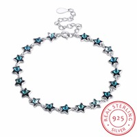 INALIS AAA 100% Sterling Silver 925 Jewelry Blue crystal Star Bracelet Female Bracelet Genuine Top Quality!! Drop Shipping