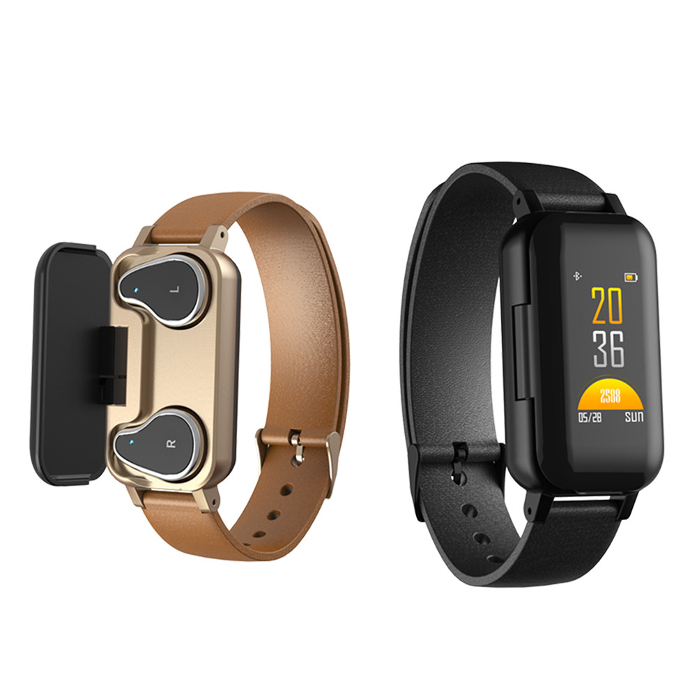 <font><b>T89</b></font> Dual Bluetooth 5.0 <font><b>TWS</b></font> Earphone Smart Bracelet Heart Rate Blood Pressure Tracker Smart Watch Men For IOS Android Phones image