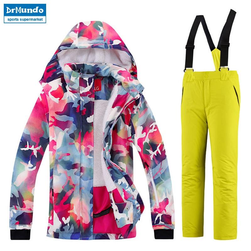 Winter Boys Ski Jacket + Pant Snowboarding Girls Skiing Suit Jacket and Pant Waterproof Windproof Kids Snow Jackt Suit Children children kids boys winter windproof padded jacket hooded jacket ski jacket high quality size 116 140