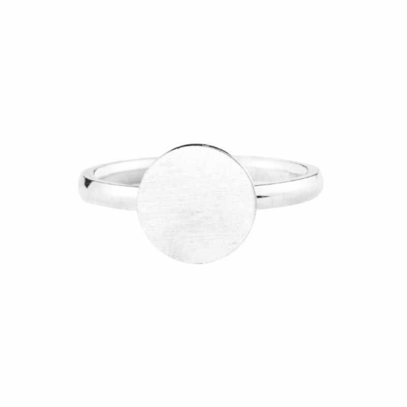 Rose Gold สี Full Moon แหวนผู้หญิงผู้ชายสแตนเลสสตีลแปรงวงกลมนิ้วมือแหวน Bague femme