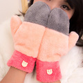Multi-Color Cute Candy Color Lovely Winter Gloves Full Finger Plush Warm Mitterns for Girls