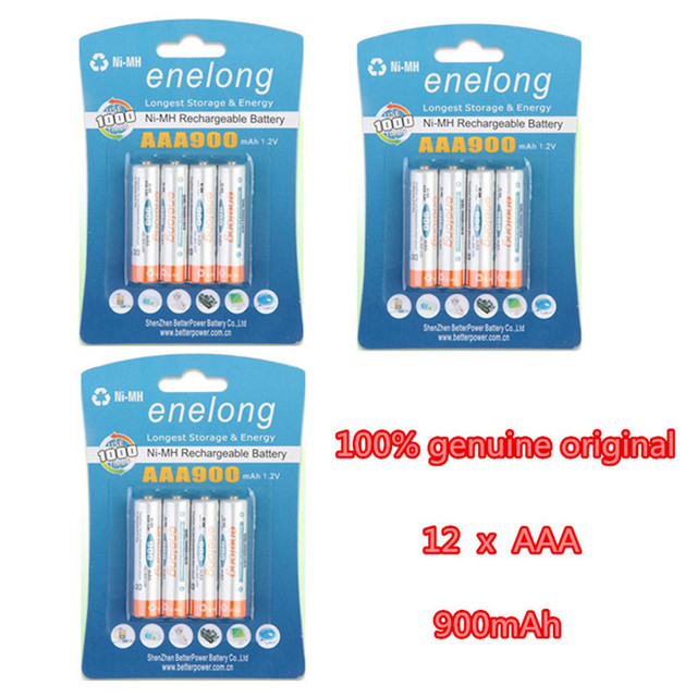12Pcs/3Pack enelong 1.2V AAA NIMH Rechargeable Battery in 900mAh capacity