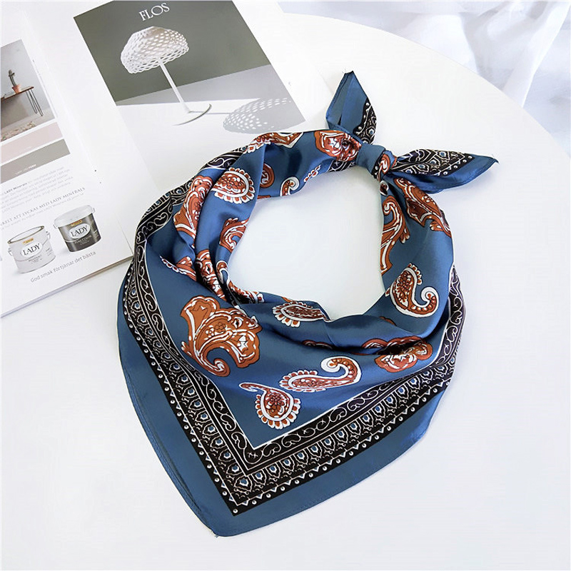 4Colors Boho Multifunction Bandana Square Scarf For Women/Men Fashion Accessoires Silk-like Hair Handkerchief Bag Scarf 60*60cm