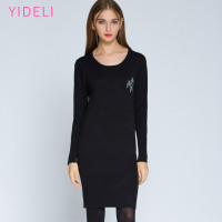 High Quality Simplee Casual O Neck Long Knitted Sweater Dress Women Slim Bodycon Dress Pullover Female