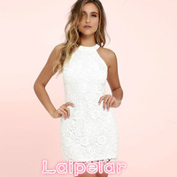 Laipelar Women Mini Bodycon Dress Elegant Wedding Party Sexy Night Club Casual Dresses Halter Neck Sleeveless Lace Summer Dress