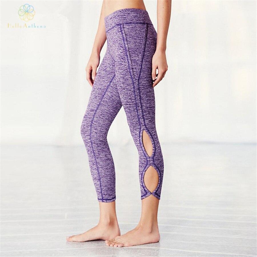Prix pour Bonjour Anthena Crus de Femmes Creux Out Sports Pantalon Solide Couleur Compression Yoga Leggings Fitness Course Mortes Jogging Gym
