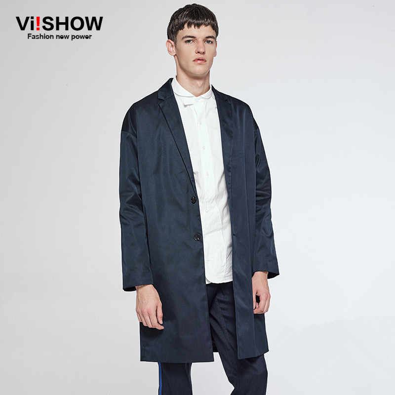 VIISHOW Trench Men Coat New Style Fashion Single Breasted Mens Trench Coat Casual Mens Long Coat Brand Clothing Navy FC13563