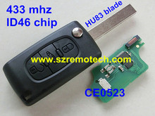 New Flip Remote Key 3 Buttons 433MHz with chip ID46 Fit For Peugeot 207 208 307 308 407 408 607 608 Car Alarm Fob CE0523