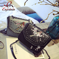 Персонализированные вышивка цветы цепи переплетения женская сумка цепи сумочка crossbody сумка щитка сумки кошелек