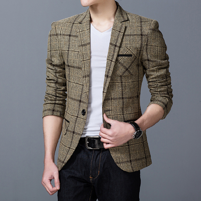 2017 Men's Jackets Autumn Thin Casual Mens Jackets And Coats Plaid ...