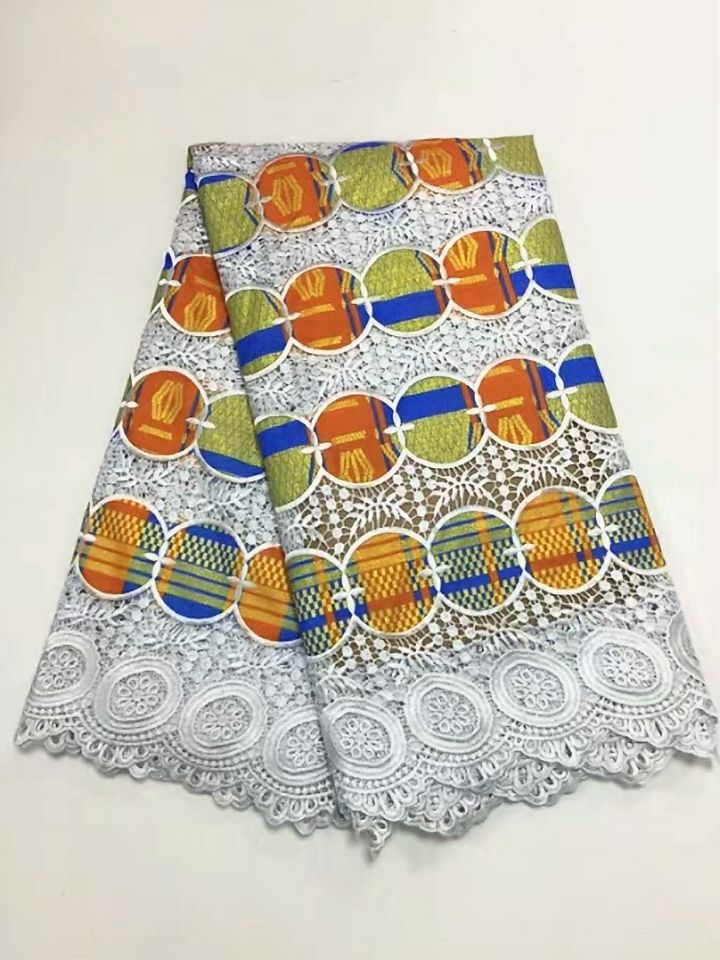 5 Yards/pc Most popular white african water soluble lace embroidery and orange cotton fabric for clothes BW143-35 Yards/pc Most popular white african water soluble lace embroidery and orange cotton fabric for clothes BW143-3