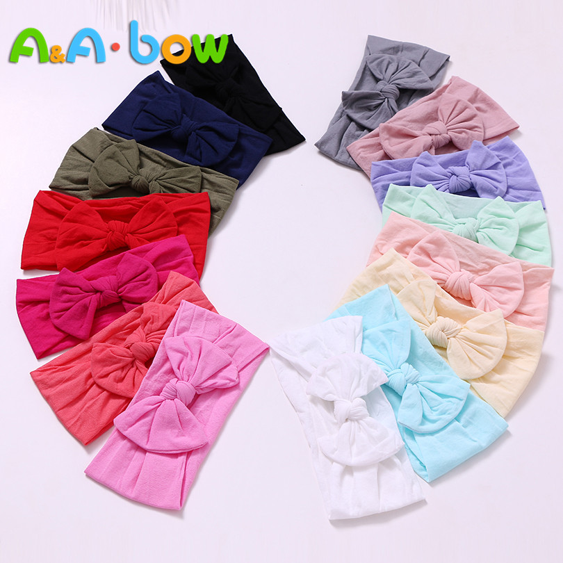 27pcs/lots Babys Bow Nylon Headband, Soft Elastic Bowknot Headband For Baby Girls Toddler Hair Accessories Headwear Wap Turban