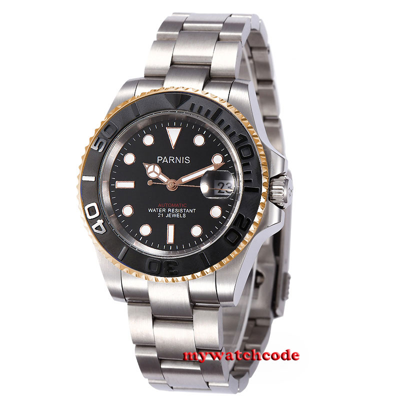 41mm Parnis black dial golden case Sapphire glass 21 jewels miyota 8215 automatic mens watch 41mm corgeut black dial sapphire glass 21 jewels miyota automatic mens watch c14