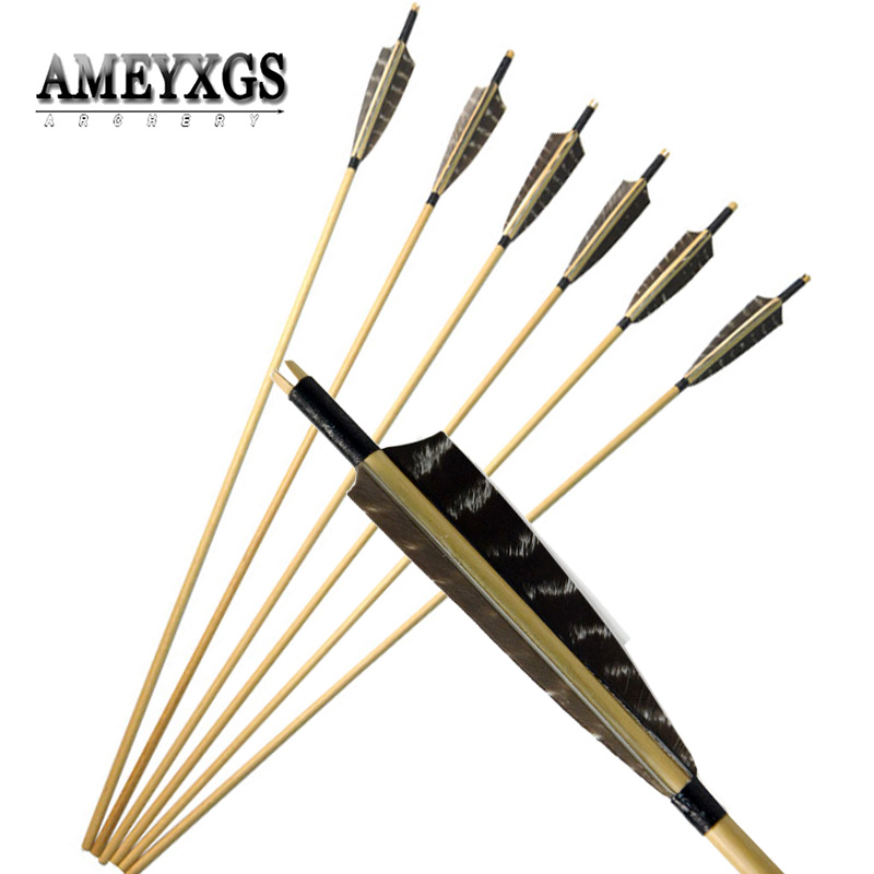 10pcs Wooden Arrow 8mm Handmade Wood Arrow Shaft Shield Shape Feather Without Broadhead For Hunting Shooting