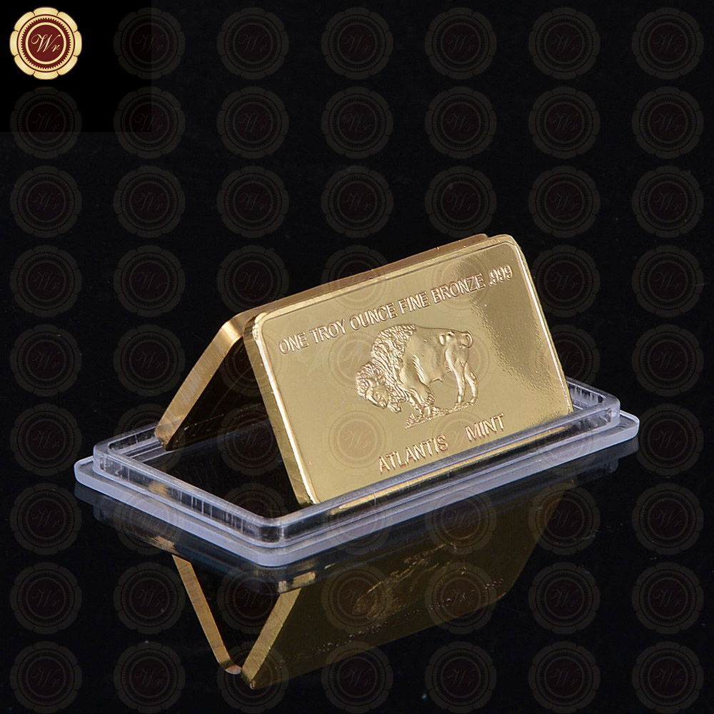 replica 1 troy ounce fine bronze decoration gold coin bars american buffalo bronze gold bar. Black Bedroom Furniture Sets. Home Design Ideas