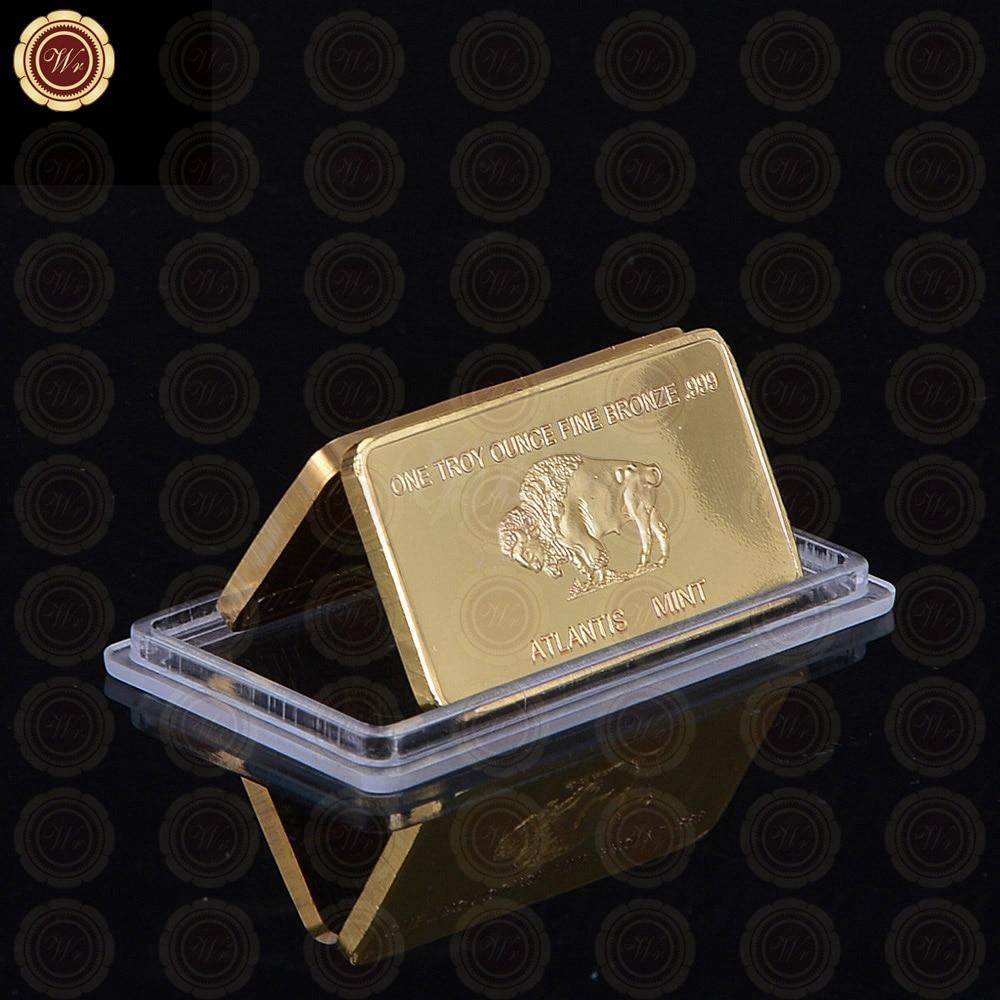 replica 1 troy ounce fine bronze decoration gold coin bars american buffalo bronze gold bar. Black Bedroom Furniture Sets. Home Design Ideas