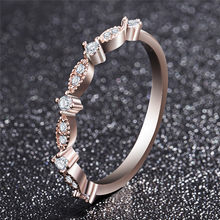 ROMAD Delle Donne Anello di Nozze Horse Eye Infinity anello In Oro Rosa di Colore di ALTA Classe Del Cuore di Strass Borchie Eternity Wedding Ring R4(China)