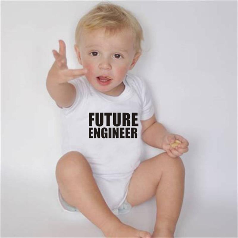 HY0065 Future Engineer Onesie Bodysuit Baby Boy Cute Short Sleeve Suit Baby Shower Gift