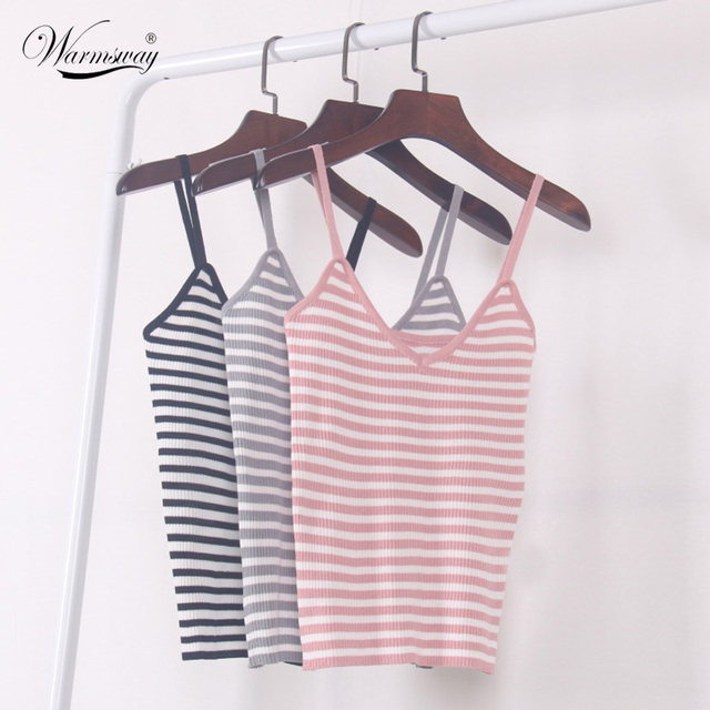 9b666fb03e New 2018 Women Harajuku Sexy V neck Striped Bustier Casual Crop Top Tank  Bralette Brandy Melville Knitted Camis A-027