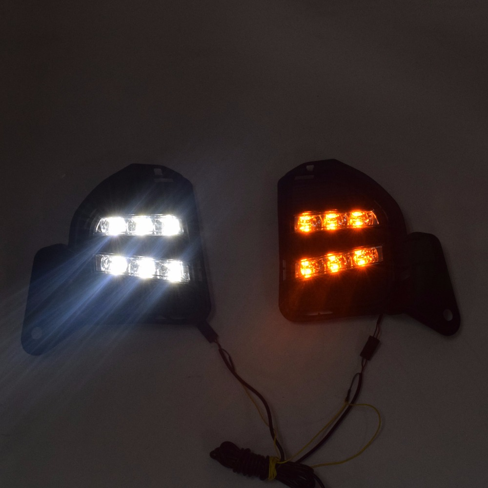 Daytime running lights for Toyota Hiace 2014 2015 2016 LED DRL front fog lamp cover driving light yellow turning light
