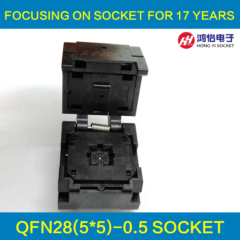 QFN28 MLF28 WLCSP28 Burn in Socket Adapter Pitch 0.5mm IC Body Size 5x5mm IC550-0284-011-G Clamshell Test Socket qfn28 mlp28 mlf28 28qn65t16060 plastronics ic test burn in socket qfn programming adapter 0 65mm pitch free shipping